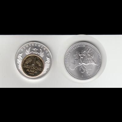 Medaille European Currencies mit 1 DM Inlay vergoldet /M23