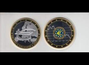 Medaille Euro Giganten Buchgeld mit Goldauflage 2009 mit Zertifikat PP M/4