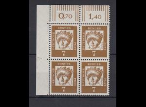 Bund 348y 4er Block Eckrand links oben DZ 4 Bedeutende Deutsche 7 Pf postfrisch