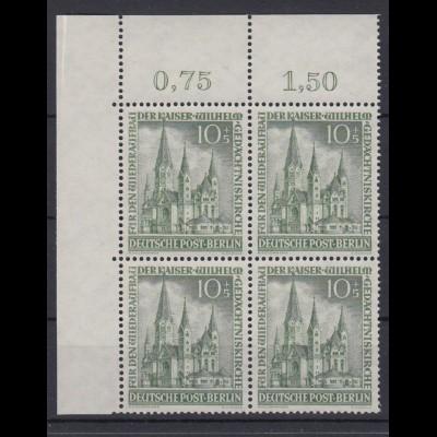 Berlin 107 4er Block Eckrand links oben Wiederaufbau Gedächtniskirche 10+5 Pf **
