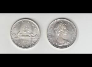 Silbermünze Kanada 1 Dollar 1966 Kanu
