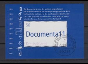 Bund Block 58 11. documenta Kassel 56 C Ersttagsstempel Frankfurt