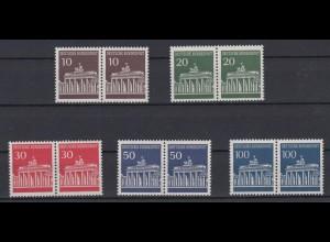 Bund 506-510 waagerechte Paare Brandenburger Tor kompletter Satz postfrisch