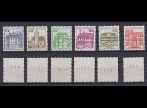 Bund ex 913-1143 RM mit rückseitiger Nummern Burgen+Schlösser 6 Werte **