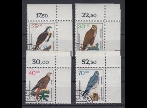 Bund 754-757 Eckrand rechts oben Jugend Greifvögel kompl. Satz ESST