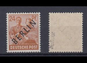 Berlin 9 Schwarzaufdruck 24 Pf postfrisch mit Besitzerzeichen