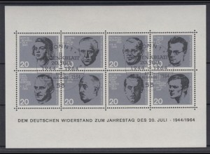 Bund Block 3 Widerstand 20. Juli 1964 Ersttagsstempel Bonn
