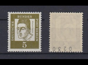 Berlin 199 RM gerade Nummer Bedeutende Deutsche 5 Pf postfrisch
