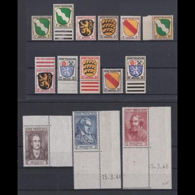 All. Beset. Franz. Zone 1-13 viele Ränder Wappen und Länder postfrisch