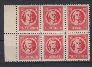 All. Besetzung SBZ Thüringen 97 AX 6er Block Freimarken 12 Pf postfrisch