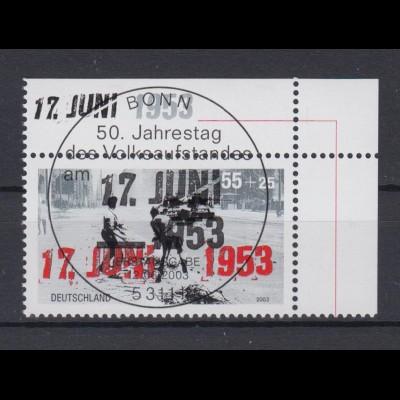 Bund 2342 Eckrand rechts oben Volksaufstand 17. Juni 1953 55 Cent ESST Bonn