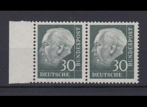 Bund 259y waagerechtes Paar Theodor Heuss (II) 30 Pf postfrisch fuoresz. Papier