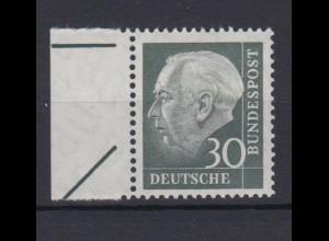 Bund 259 mit Bogenrandzudruck Theodor Heuss (II) 30 Pf postfrisch