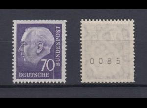 Bund 263 xw glattes Gummi RM ungerade Nummer Theodor Heuss 70 Pf postfrisch