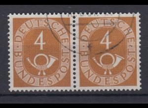 Bund 124 Posthorn waagerechtes Paar 4 Pf gestempelt