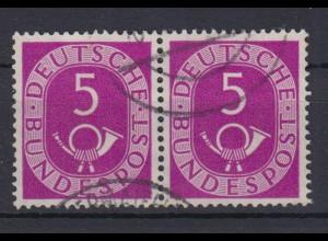 Bund 125 waagerechtes Paar Posthorn 5 Pf gestempelt /7