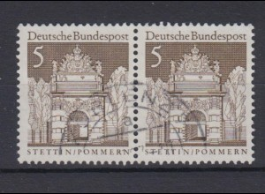 Bund 489 waagerechtes Paar Deutsche Bauwerke (II) 5 Pf gestempelt /1