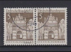 Bund 489 waagerechtes Paar Deutsche Bauwerke (II) 5 Pf gestempelt /2