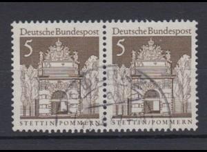 Bund 489 waagerechtes Paar Deutsche Bauwerke (II) 5 Pf gestempelt /3