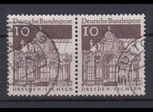 Bund 490 waagerechtes Paar Deutsche Bauwerke (II) 10 Pf gestempelt
