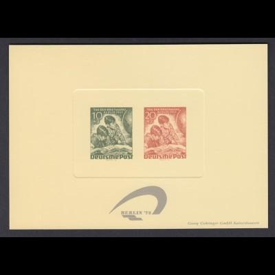 Vignette Sonderdruck Berlin Bl. 5b auf Manilakarton mit eingeprägtem Markenbild