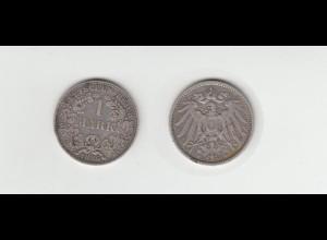 Silbermünze Kaiserreich 1 Mark 1896 A Jäger Nr. 17 /48