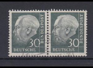 Bund 259 waagerechtes Paar Theodor Heuss (II) 30 Pf gestempelt