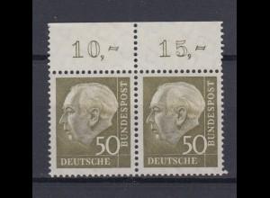 Bund 261xw waagerechtes Paar mit Oberrand Theodor Heuss (II) 50 Pf postfrisch