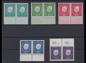 Bund 302-307 waagerechte Paare mit Rändern Bundespräsident Theodor Heuss (III)**