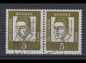 Bund 347y waagerechtes Paar Bedeutende Deutsche 5 Pf gestempelt /1