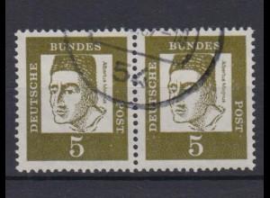 Bund 347y waagerechtes Paar Bedeutende Deutsche 5 Pf gestempelt /2