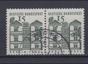 Bund 455 waagerechtes Paar Deutsche Bauwerke klein 15 Pf gestempelt /1