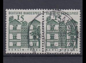 Bund 455 waagerechtes Paar Deutsche Bauwerke klein 15 Pf gestempelt /2