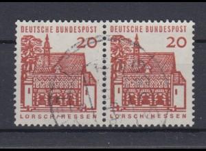 Bund 456 waagerechtes Paar Deutsche Bauwerke klein 20 Pf gestempelt /2