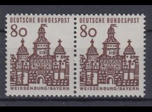 Bund 461 waagerechtes Paar Deutsche Bauwerke klein 80 Pf postfrisch