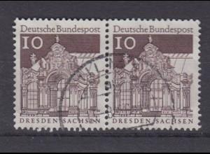 Bund 490 waagerechtes Paar Deutsche Bauwerke (II) 10 Pf gestempelt /2
