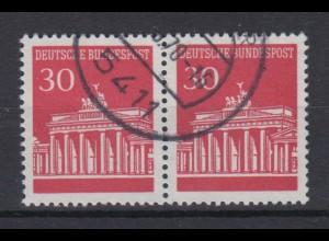 Bund 508 waagerchtes Paar Brandenburger Tor 30 Pf gestempelt /1