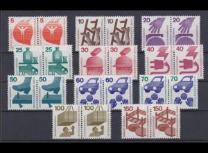 Berlin 402 A - 411 A + 453 waagerechtes Paar Unfallverhütung 11 Werte postfrisch