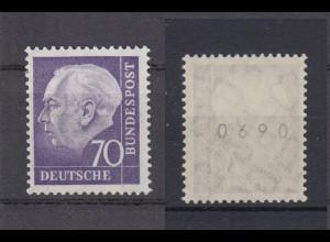 Bund 263 xw RM gerade Nummer Theodor Heuss 70 Pf postfrisch