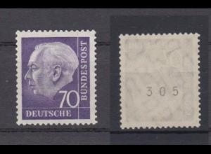 Bund 263 xw RM ungerade Nummer 3stellig Theodor Heuss 70 Pf postfrisch