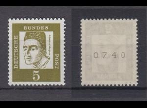 Bund 347y RM gerade Nummer Bedeutende Deutsche 5 Pf postfrisch
