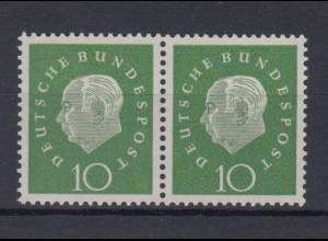 Bund 303 waagerechtes Paar Bundespräsident Heuss (III) 10 Pf postfrisch