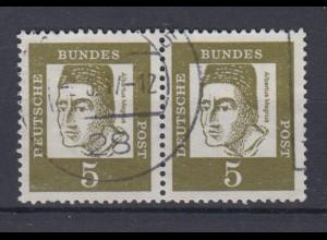 Bund 347y waagerechtes Paar Bedeutende Deutsche 5 Pf gestempelt /5