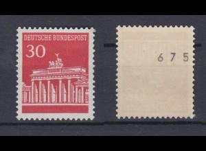 Bund 508 v RM ungerade Nummer 1000er Rolle Brandenburger Tor 30 Pf postfrisch
