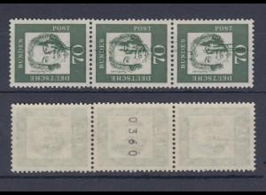 Bund 358y a 3er Streifen mit Nr. Farbverschmierung Bedeutende Deutsche 70 Pf **