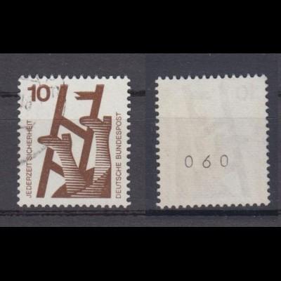 Bund 695 a RM schwarze Nr. gerade aus 300er Rolle Unfall 10 Pf gestempelt