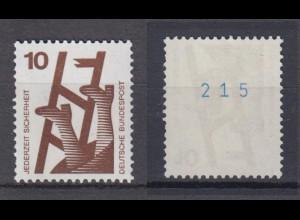 Bund 695 d blaue Nr. ungerade Unfallverhütung 10 Pf postfrisch