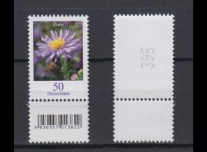 Bund 2463 EAN-Code unten mit Lila Strich RM ungerade Nr. Herbstaster 50 C **