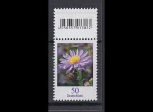 Bund 2463 EAN-Code mit Lila Strich oben Herbstaster 50 Cent postfrisch