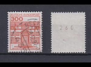 Bund 1143 II Letterset mit gerader Nummer Burgen+Schlösser (V) 300 Pf gestempelt